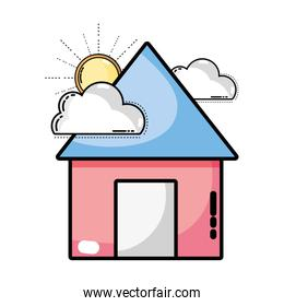 house with clouds and sun over white
