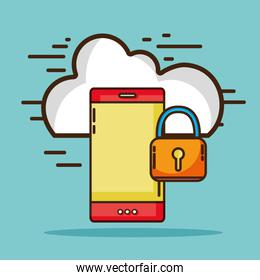 smartphone with cloud data and padlock security