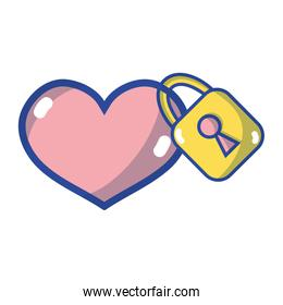 heart design with security padlock element over white