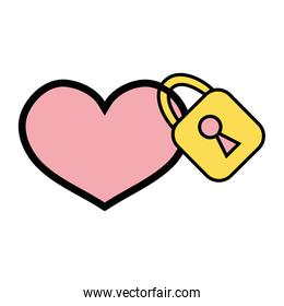 heart design with security padlock element