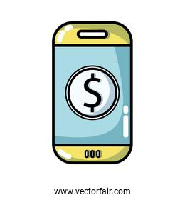 smartphone technology with money app icon