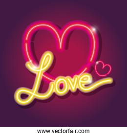 heart love icons neon sign decoration