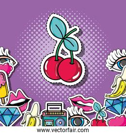 pop art cherry with patches background design