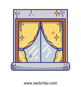 house window clean with curtains design
