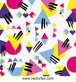 memphis style with color geometric design