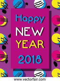 happy new year over color backgroun design