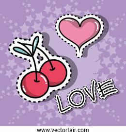 cherry and heart cute patches sticker