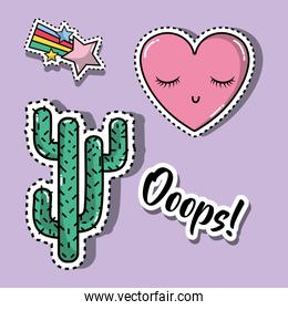 cactus with heart and star fashion patches design
