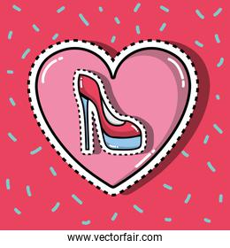 high heel shoes inside heart fashion patches design