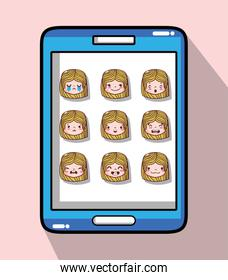 smartphone with girl head emotion faces