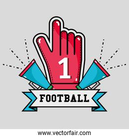 football message in the ribbon with glove and megaphone