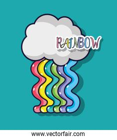 cute rainbow design with cloud in the sky
