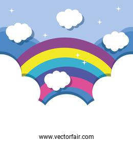 nice lanscape with rainbow and clouds design