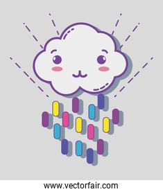 kawaii cloud with color rainbow in lines