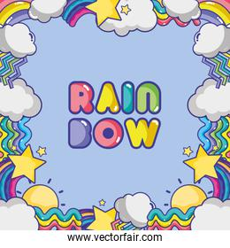 rainbow with differents shapes and clouds background