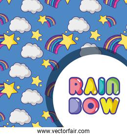 rainbow with star and clouds background design