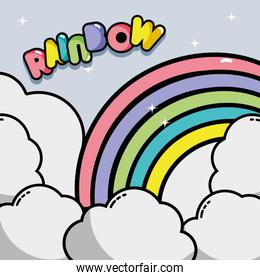 nice rainbow with clouds in the sky design