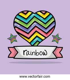 rainbow in heart shape with ribbon and stars