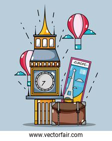 big ben monument with air balloon and bag