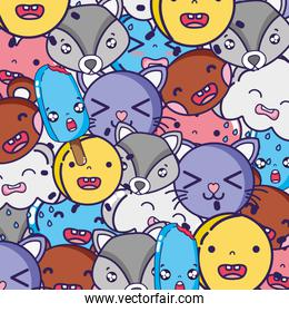 cute kawaii faces expression background