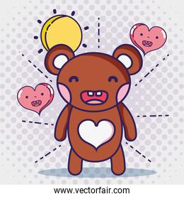 kawaii bear and hearts faces expression