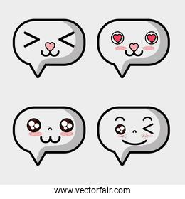 set kawaii chat bubble faces expression