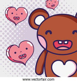 kawaii bear and cute hearts expression