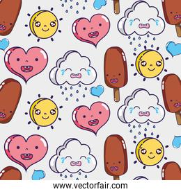 nice kawaii faces expression background