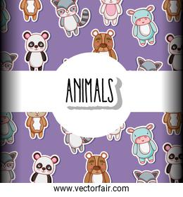 cute animals patches background design