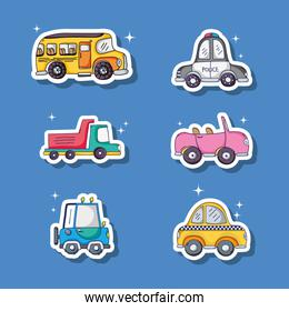 set different transportation patches in blue background