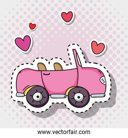 pink car transportation with hearts patches