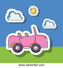 pink car transportation with clouds and sun patches