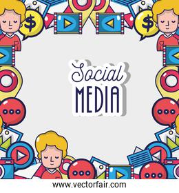 social media netword connection background