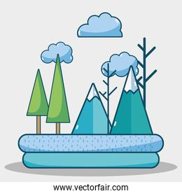 winter mountains and pine tree weather
