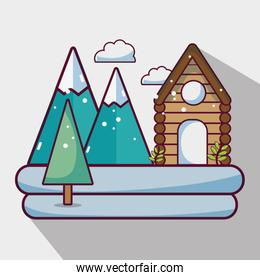 winter weather season with cabin and mountains