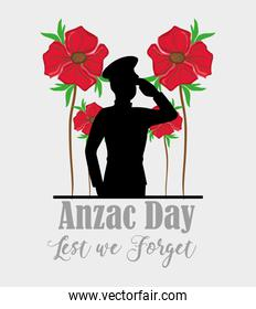 Anzac day with soldier memorial holiday