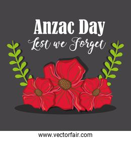 Anzac day with rose and branches leaves