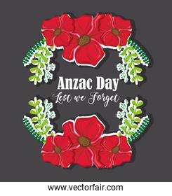 flowers and branches design to anzac day
