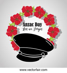 soldier hat to anzac day memorial