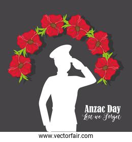 soldier with flowers to anzac day memory