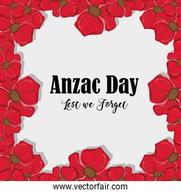 remenbrance anzac day with flowers design