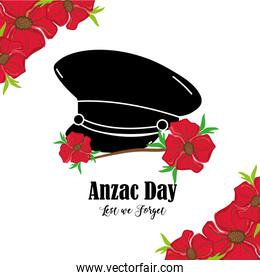 flowers design with hat soldier memorial