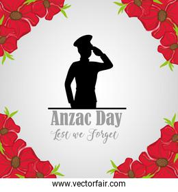 military soldier to anzac day and flowers