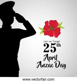 soldier with hat to anzac day memory
