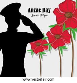 flowers with soldier army to anzac day