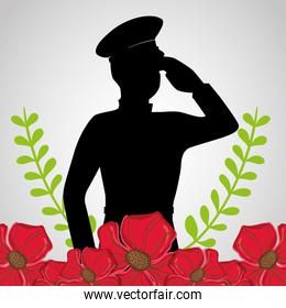 military soldier with flowers to anzac day