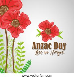 anzac day with flowers to remembrance war