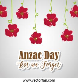 flowers hanging to anzac holiday memorial