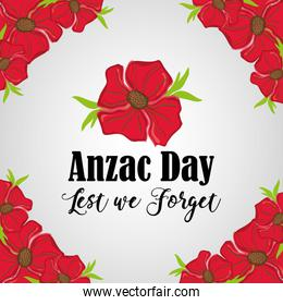 anzac day remembrance with flowers design