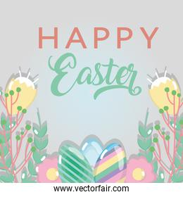 happy easter holiday with eggs and plants